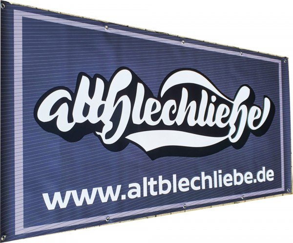 Altblechliebe Werkstatt Banner schriftzug