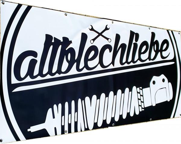 Altblechliebe Werkstatt Banner s/w